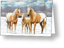 Palomino Appaloosa Horses In Winter Greeting Card