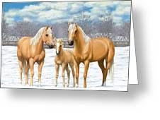 Palomino Horses In Winter Pasture Greeting Card