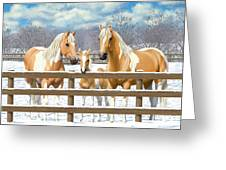 Palomino Paint Horses In Snow Greeting Card