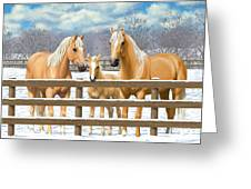 Palomino Quarter Horses In Snow Greeting Card by Crista Forest