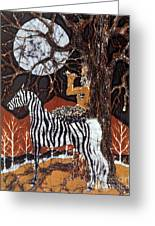 Pan Calls The Moon From Zebra Greeting Card by Carol Law Conklin
