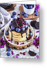 Pancakes With Chocolate Sauce Greeting Card