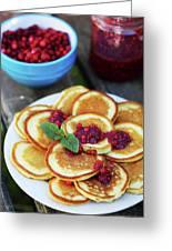 Pancakes With Cranberry Jam Greeting Card