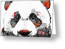 Panda Bear Art - Black White Red - By Sharon Cummings Greeting Card
