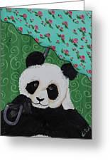 Panda In The Rain Greeting Card