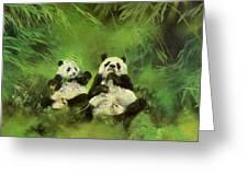 Pandas Greeting Card by Odile Kidd