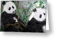 Pandas With Golden Bamboo Greeting Card