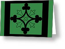 Panel - Black And Green Clover Style Greek Cross Greeting Card