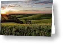 Pano - Flint Hills Sunset   Greeting Card