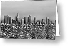 Pano Los Angeles City Black White Greeting Card