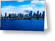 Pano Of Downtown Seatle Greeting Card