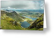 Pano Snowdonia Greeting Card by Nick Bywater