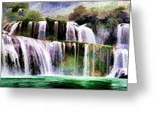 Panorama Ban Gioc Fall Vietnam  Greeting Card