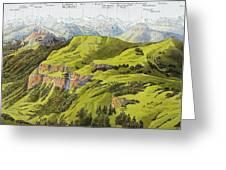 Panorama Drawn From The Rigi Mountain Greeting Card
