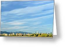 Blue Sky Over Vancouver City Skyline. Greeting Card
