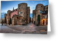 Panorama Of Ancient Roman Gate And Placa Nova In The Morning, Ba Greeting Card
