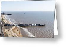 Panorama Of Blackpool Beach Greeting Card