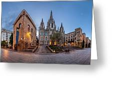 Panorama Of Cathedral Of The Holy Cross And Saint Eulalia In The Greeting Card