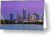 Panorama Of Downtown Austin Skyline From The Lady Bird Lake Boardwalk Trail - Texas Hill Country Greeting Card