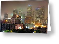 Panorama Of Downtown Los Angeles In The Fog Greeting Card