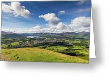 Panorama Of Keswick And Lake Derwent Water Panorama From Latrigg Greeting Card