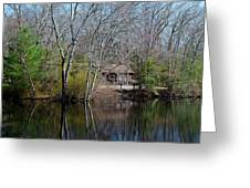Panorama Of Lake, Trees And Cabin Greeting Card