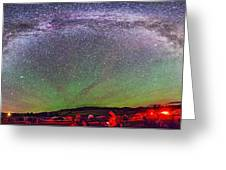 Panorama Of Milky Way Above The Table Greeting Card