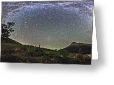Panorama Of Milky Way Over Red Rock Greeting Card