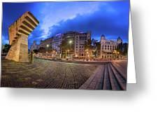 Panorama Of Placa De Catalunya In The Morning, Barcelona, Spain Greeting Card