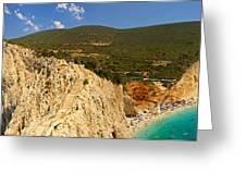 Panorama Of Porto Katsiki Famous Paradise Beach Greeting Card