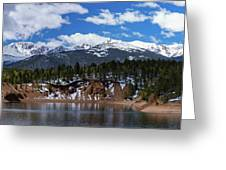 Panorama Of South Catamount Reservoir With Pike's Peak Covered I Greeting Card