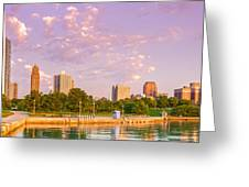 Panorama Of South Side Of Chicago Skyline And One Museum Park From Shedd Aquarium - Chicago Illinois Greeting Card