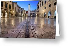 Panorama Of Stradun Street And Luza Square In Dubrovnik, Dalmati Greeting Card