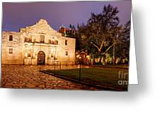 Panorama Of The Alamo In San Antonio At Dawn - San Antonio Texas Greeting Card