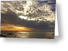 Panorama Of The Sunset In Caesarea Greeting Card