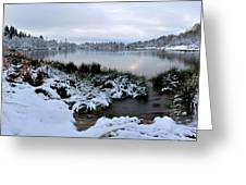 Panorama Of Winter Lake Greeting Card