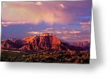 Panorama West Temple At Sunset Zion Natonal Park Greeting Card