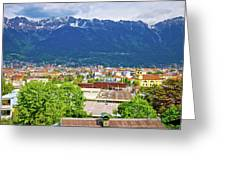Panoramic Aerial View Of Innsbruck And Hafelekarspitze Mountain Greeting Card