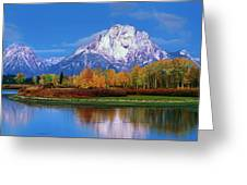 Panoramic Autumn Morning Oxbow Bend Grand Tetons National Park Greeting Card