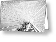 Panoramic Chicago Ferris Wheel In Black And White Greeting Card