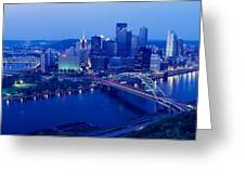 Panoramic Evening View Of Pittsburgh Greeting Card