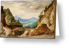 Panoramic Landscape With Travellers Greeting Card