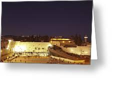 Panoramic Night View Of The Wailing Wall  Greeting Card