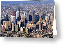 Panoramic Philly Skyline Aerial Photograph Greeting Card