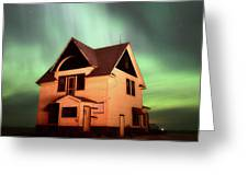 Panoramic Prairie Northern Lights And House Greeting Card