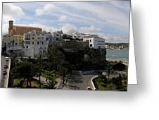 panoramic town 1  - Panorama of Mahon Menorca with old town and harbour Greeting Card