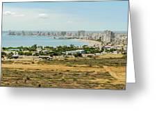 Panoramic View At The Salinas Beaches In Ecuador Greeting Card