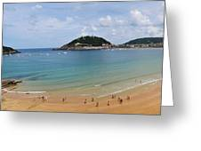 Panoramic View Of Beautiful Beach, San Sebastian, Spain  Greeting Card