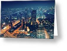Panoramic View Of Dubai City Greeting Card