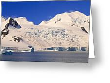 Panoramic View Of Glaciers And Iceberg Greeting Card